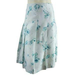 Banana Republic Floral Silk Pleated A-line Skirt